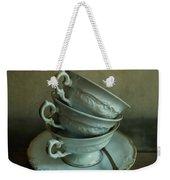 White Ornamented Teacups Weekender Tote Bag