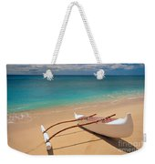 White Outrigger Canoe Weekender Tote Bag