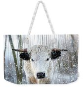 White Park Cattle In The Snow Weekender Tote Bag