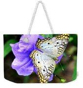 White Peacock Butterfly On Purple 2 Weekender Tote Bag
