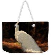 White Peacock In Golden Hour Weekender Tote Bag