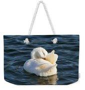 White Pekin Duck In Blue Water Preening Weekender Tote Bag
