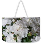 White Peony With Red Traces Weekender Tote Bag