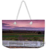 White Picket Fence Looking Over Farmland  Weekender Tote Bag