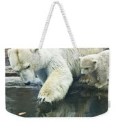 White Polar Bear With Baby Weekender Tote Bag