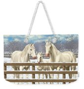 White Quarter Horses In Snow Weekender Tote Bag by Crista Forest