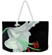 White, Red And Green Lily Weekender Tote Bag