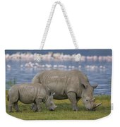 White Rhino Mother And Calf Grazing Weekender Tote Bag by Ingo Arndt