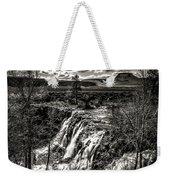White River Falls Black  And White Weekender Tote Bag