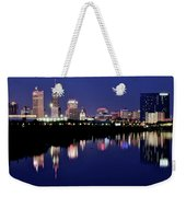 White River Reflects Indy Skyline Weekender Tote Bag