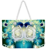 White Roses  And Blue Satin Bouquet Fractal Abstract Weekender Tote Bag