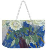 White Roses With Red And Blue Weekender Tote Bag