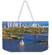 White Sailboat On The Water Weekender Tote Bag