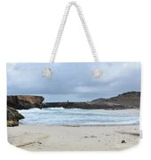 White Sand Beach And Large Rock Formations In Aruba Weekender Tote Bag