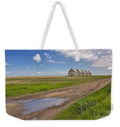 White Sheds On A Prairie Farm In Spring Weekender Tote Bag