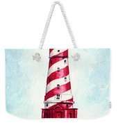 White Shoal Lighthouse Michigan Nautical Light House Red And White Candycane Stripes Weekender Tote Bag