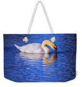 White Swan Drinking Water In A Pond Weekender Tote Bag