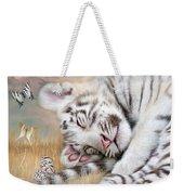 White Tiger Dreams Weekender Tote Bag by Carol Cavalaris