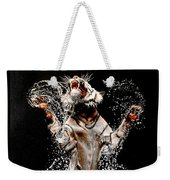 White Tiger Jumping In Water Weekender Tote Bag