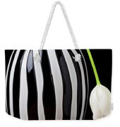 White Tulip In Striped Vase Weekender Tote Bag by Garry Gay