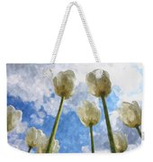 White Tulips And Cloudy Sky Digital Watercolor Weekender Tote Bag