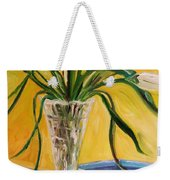 White Tulips In Cut Glass Weekender Tote Bag