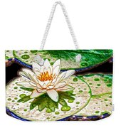 White Water Lilies Flower Weekender Tote Bag