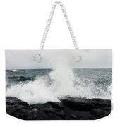 White Waves Black Rocks Weekender Tote Bag