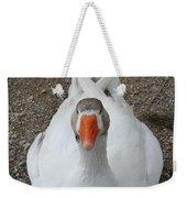 White Wild Duck Sitting On Gravel Weekender Tote Bag