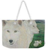 White Wolves Guarding Their Pups Weekender Tote Bag
