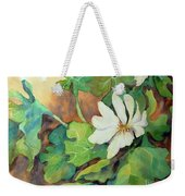 White Woodland Flower Weekender Tote Bag
