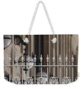 White Wrought Iron Gate In Chicago Weekender Tote Bag