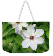 White, Yellow, And Purple Clematis Blossom Weekender Tote Bag