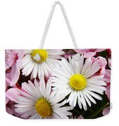 White Yellow Daisy Flowers Art Prints Pink Blossoms Weekender Tote Bag