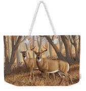Whitetail Deer Painting - Fall Flame Weekender Tote Bag by Crista Forest