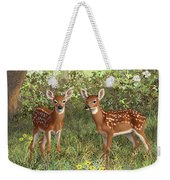 Whitetail Deer Twin Fawns Weekender Tote Bag by Crista Forest