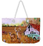 Whitetail Deer With Truck And Barn Weekender Tote Bag
