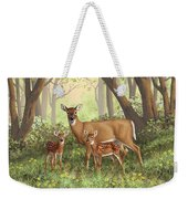 Whitetail Doe And Fawns - Mom's Little Spring Blossoms Weekender Tote Bag by Crista Forest