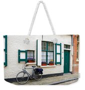 Whitewashed Brick House With Green Trimmed Shutters In Bruges Weekender Tote Bag