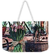 Wicker Basket And Flowers Weekender Tote Bag