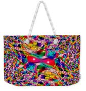 Wicker Marble Rainbow Fractal Weekender Tote Bag