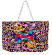 Wicker Marble Rainbow Fractal Weekender Tote Bag