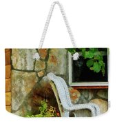 Wicker Rocking Chair On Porch Weekender Tote Bag