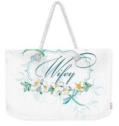 Wifey New Bride Dragonfly W Daisy Flowers N Swirls Weekender Tote Bag