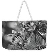 Wild Aster And Honey Bee Bw Weekender Tote Bag