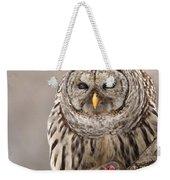 Wild Barred Owl With Prey Weekender Tote Bag