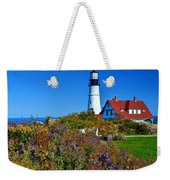 Wild Flowers Fading At The Portland Head Light Weekender Tote Bag