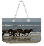 Wild  Horses Run On The Beach Weekender Tote Bag