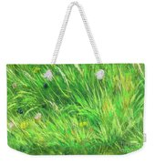 Wild Meadow Grass Structure In Bright Green Tones, Painting Detail. Weekender Tote Bag