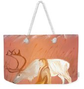 Wild Reindeer And Young Woman Becoming Friends - Poetic Painting Weekender Tote Bag